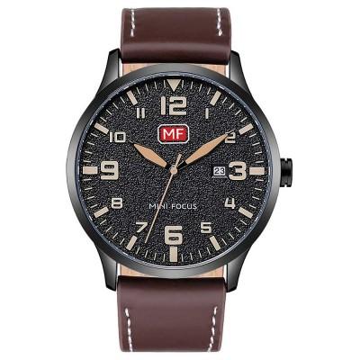 Men Super Thin Large Watch Dial Waterproof Soft Leather Quartz Watch with Calendar Date