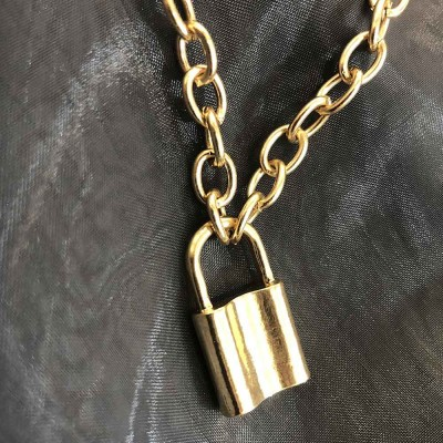 Women Locker Pendant Thick Cable Chain Necklace Sweater Fashion Jewelry Clothing Ornament Necklaces