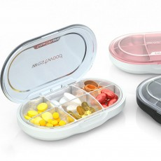Westwood Premium Travel Pill Organizer Case Dust-Proof 6 Compartments Portable Weekly Pill Box for Medication Vitamin