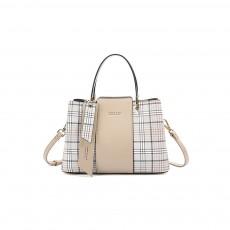 New Women Elegant Handbag Stylish Color Checkered Cloth Joint Spacious Shoulder Bag
