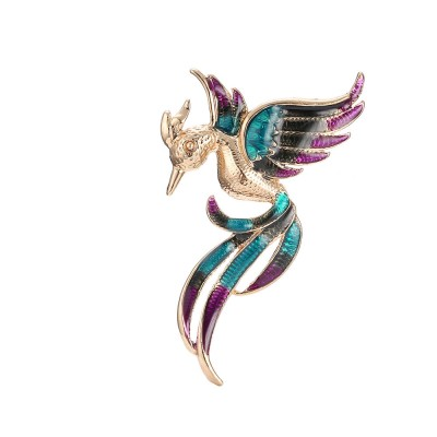 Little Dainty Phoenix Bird Enamel Painted Alloy Breastpin for Women, Colorful Dripping Scarf Clothes Decoration Accessories Animal Brooch
