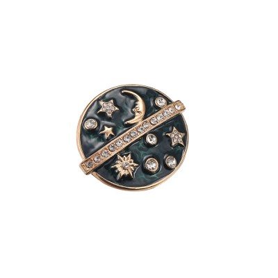 Round Sun Moon Stars Brooches for Ladies, Enamel Painted Alloy Breastpin