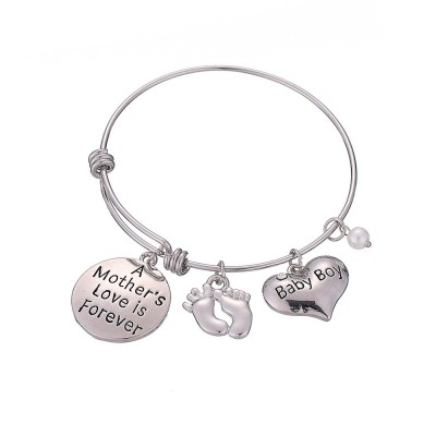Heart Shaped Stainless Steel Bracelet, Pendant Mother Love Baby Boy Letter Decoration