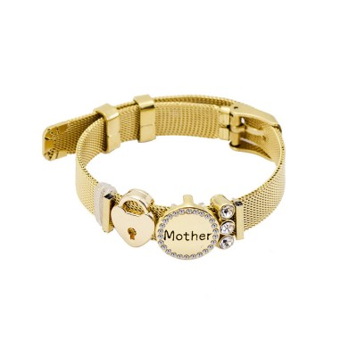 Stylish Heart Lock Model Mother Love Diamond Drilling Stainless Steel Bracelet, Family Love Electroplating Silver Gold Chain Bangle for Mothers