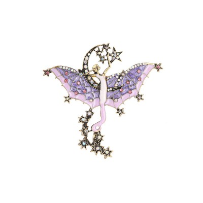 Dainty Fairy Stars Moon Model Alloy Brooch for Women Ladies, Stylish Bag Clothes Decoration Breastpin with Diamond Drilling Ornament