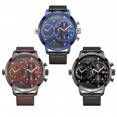 Leather Belt Men Watch, Luminous Waterproof Men Watch, Quartz Men Watch with Double Movement and Calendar