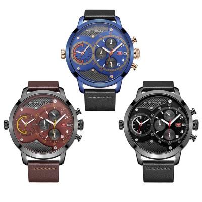 Leather Belt Men Watch, Luminous Waterproof Men Watch, Quartz Men Watch with Double Movement and Calendar
