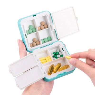 Convenient Double-layers Medicine Box with Internal & External Clasp Design, Sealed Moisture-proof Medicine Box