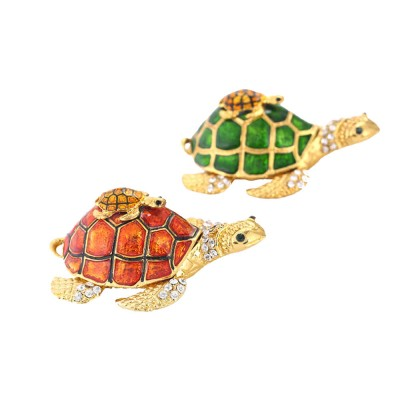 Southeast Asian Style Enamel Painted Crafts, Diamond Mother and Child Turtle Home Decoration, Exquisite Small Jewelry Box