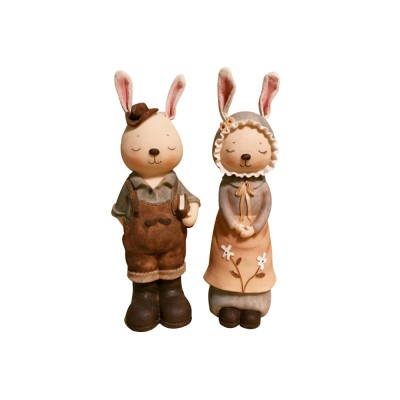 Couple Retro Rabbit Piggy Bank, Miss Rabbit Home Decoration, Creative Resin Crafts for Wedding Birthday Gift