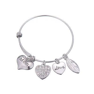 Stylish Heart Model Diamond Drilling Stainless Steel Bracelet, Mother Love Letter Electroplating Adjustable Silver Chain Bangle for Mothers