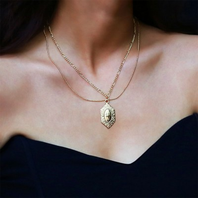 bd23673f72039 Women Necklace Double-layer Gold Medal Pendant Charm Necklace Religious  Fine Jewelry Necklaces for Woman