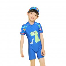 Little Boys One Piece Sunsuit Cute Short Sleeve Surfing Swimsuit Dinosaur Monster Children's Swimsuit with High Elasticity