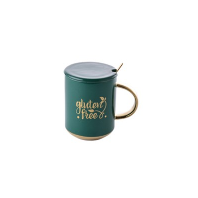 Luxury Gold-plated Dark Green Cup with Spoon and Lid, Office Drinking Creative Gold Coffee Mug Set
