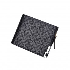 Checkered Change Purse with Two-folding & Multiple Cards Design, Business Genuine Leather Style for Men
