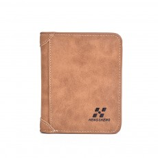 Genuine Leather Frosted Wallet with Three-folding & Multiple Cards Design & SIM Card Slot for Men.