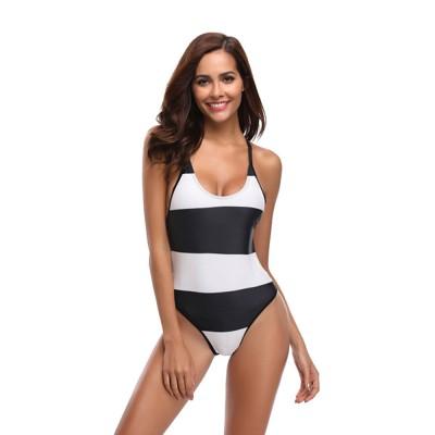 Womens Bikini V-Neck Stripe Padded Backless Soft Beachwear One Piece Swimsuits High Waist Bathing Suit