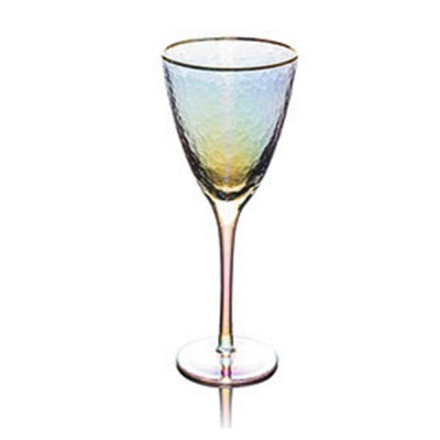 Lon-plated with Hammer-edged Design Glass, Red Wine Glass Family Wine Cocktail Champagne Glass
