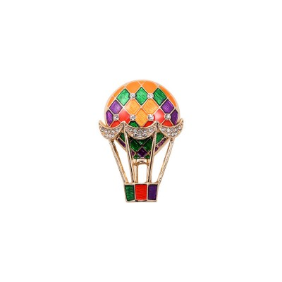 Colorful Enamel Painted Hot Air Balloon Model Brooch for Ladies, Stylish Diamonds Drilling Dripping Breastpin
