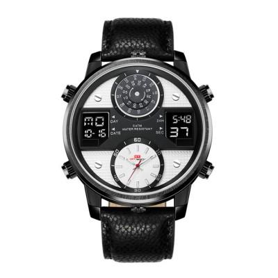 Men's Quartz Watch with Date Genuine Leather Band Minimalist Wrist Watches Nightlight Waterproof 50M Sports Watches for Men