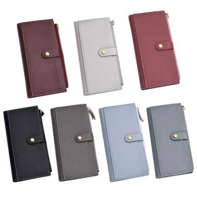 Ladies Snap Button Purse, Long Tri-fold Credit Card Purse Card Holder