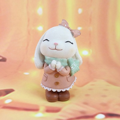 Anne Rabbit Night Light Piggy Bank Resin LED Mini Night Lamp Home Car Decoration Creative Resin Ornaments