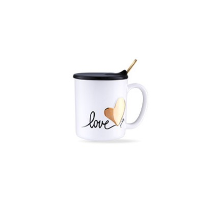 Cute Simple Ceramic Mug with Cover and Spoon, Dishwasher safe, Gifts for Lover