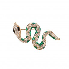 Dainty Alloy Oil-spot Glaze Snake Model Brooch for Women Ladies