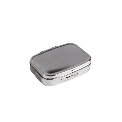 Portable Stainless Steel Moisture-proof Pill Box with Mirror Double Compartment Design & Press Type Bullet Cover Function Pill Case