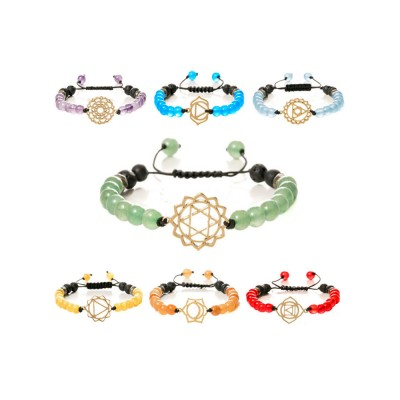 Beautiful Delicate Crystal Agate Lava Stainless Steel Bracelet, Chakra Style Electroplating Knit Hand Chain Bangle for Men Women