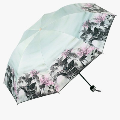 Lady's Outdoor Sun Umbrella with Triple Fold Sun Block, Multifunctional Umbrella with Lacquer Baking Handle