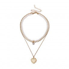 Pearl Choker Multilayer Necklace Chain Flashing Synthetic Diamond Pearl Clavicle Heart-shaped Necklace for Woman