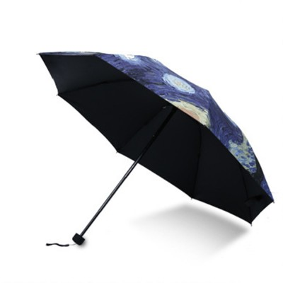 Lady's Multifunctional Outdoor Sun Umbrella with Triple Fold Sun Block of Van Gogh Painting Design