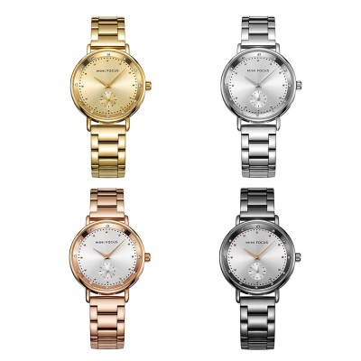 Diamond-encrusted Lady's Watch, Stainless Steel Band Casual Quartz Wrist Watch, Ladies Waterproof Stylish Watch