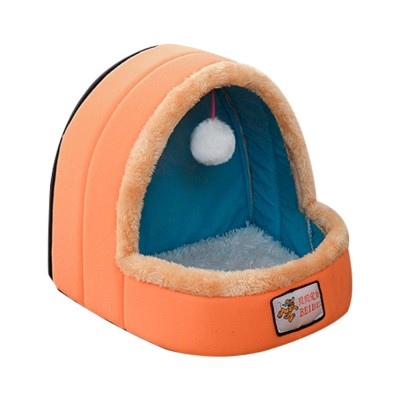 Dogs Cats Home Zipper Soft Durable Anti-skid Mongolian Yurt Shaped Pet Nest Autumn and Winter Thickened Thermal Tent Bed