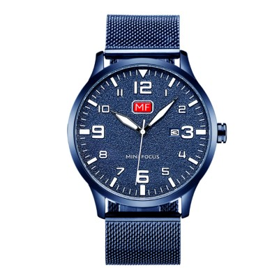 Men's Fashion Quartz Watch with Date Stainless Steel Mesh Band Casual Luminous Wrist Watches Waterproof 30M