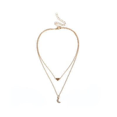 Female Necklace Alloy Neck-let Two Layers Moon Heart Shapes Torque Simple Ornament for Women