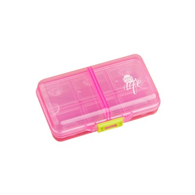Portable PC Pill Organiser Storage Box Non-toxic Container 8 Spaces for Medicine Jewelry Easy Carrying Double Layers Dispenser 4 Colors