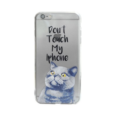 Creative Personality British Shorthair Cat Phone Cover for iPhone 6, 6S Transparent Soft Shell