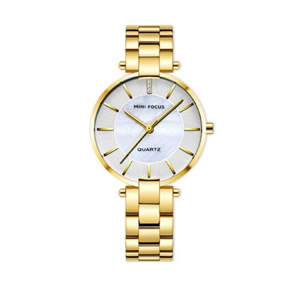 Fashion Elegant Female Wristwatch with Stainless Steel Band Strap Imported Movement, Wear-resisting Lens Round Case Waterproof Quartz Watch
