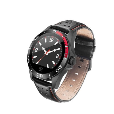 Multifunctional Smart Electronic Watch Supporting Sports Step & Heart Rate with IOS/Android Bluetooth, Water-poof Bracelet with Genuine Leather Strap