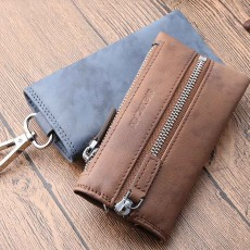 Leather Key Case for Men, Waist Hanged Zipper Key Case for Women, Multipurpose Key Case Wallet Mini Coin Purse