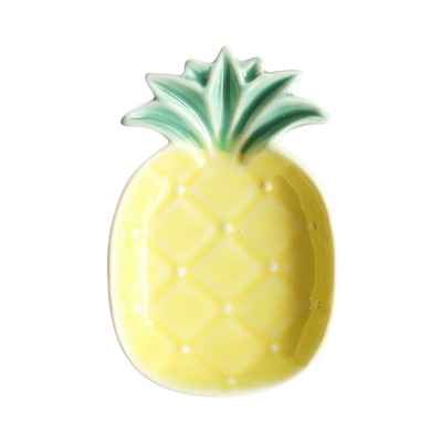 Creative Pineapple Sauce Dish Cute Ceramic Seasoning Dish Appetizer Plates Dessert Plate Snacks Dish Jewelry Tray