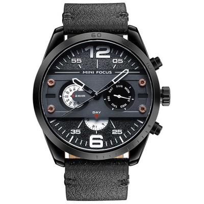 Men's Fashion Watch Leather Strap Alloy Wristwatch Luminous Water Proof Quartz Mechanical Watch with Calendar Display