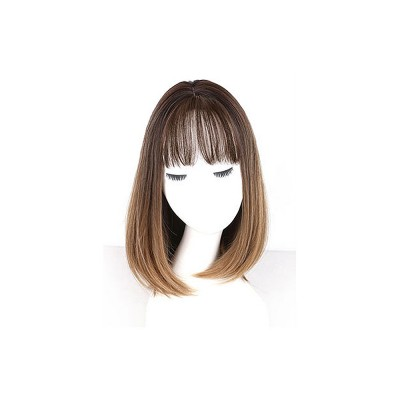 Middle-length Fake Hair for Women, Natural Cute Curly Long Hair with Bangs Head Type Round Face Short Wig