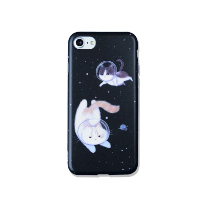Space Cat Frosted PC Soft Protective Case for iPhone 6 6s Plus/ 7/ 8/ 7 Plus/8 Plus, Shockproof Anti Scratch Phone Back Cover Case