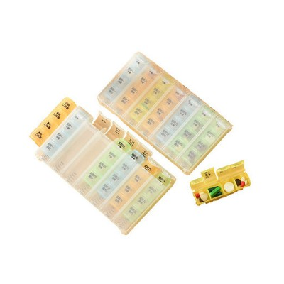 Weekly Portable Pill Box for Traveler Elder Worker, 7-day Pill Organizer 4 Times A Day With 28 Compartments, Bonus 1 Transparent Pill Cutter