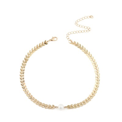 Fishbone Choker Necklace Pearl Pendant Chain Casual Choker Necklace for Women and Girls