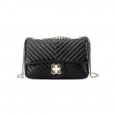 Women Fashion Shoulder Bag PU Leather Handbag Compact Crossbody Bag with Chain, Black