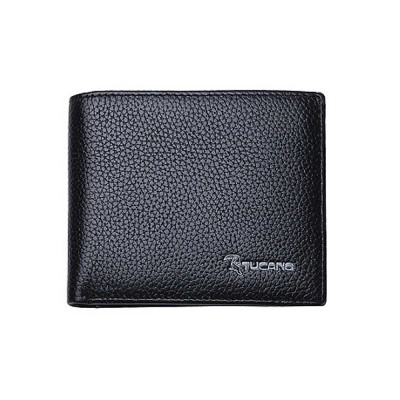 Men's Thin Sleek Casual Bifold Wallet with Credit Card Pockets Compact Cowhide Leather Wallet